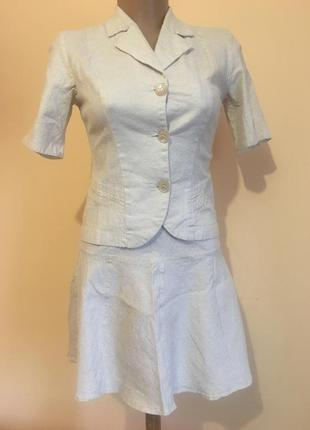 Бежевий костюм юбка клеш пиджак льон з люрексом