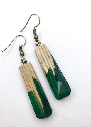 Handmade , необычные серьги из дерева, серёжки украшение из эпоксидной смолы