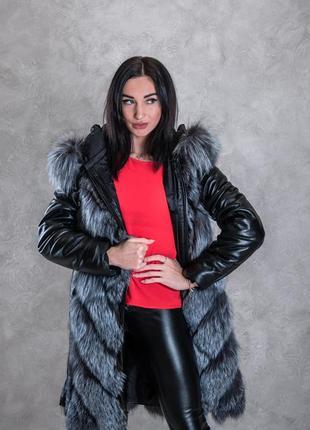 Новинка шубка из чернобурки 90 см, шуба чернобурка 2 в 1, жилетка, меховое пальто
