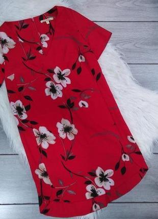 Next платье летнее красное с принтом цветы очень нежное xxs 32 4 40 xs 34 6 42