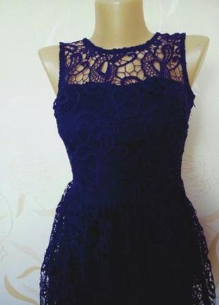 Шикарное винтажное темно синее платье с дорогим кружевом кроше