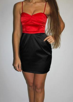 Черно красное платье по фигуре h&m (красивая грудь ) - идеально на выход !