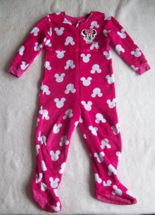 Пижама слип человечек минни маус махра, рост 110 см.