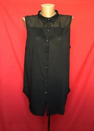 Черная удлиненная блуза h&m