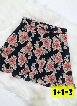 Boohoo юбка на талию xs-s клеш солнце черная цветы принт трапеция