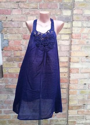 Платье синее 100% котон с шитьем