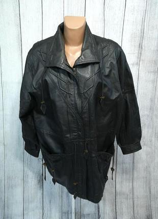 Куртка кожаная черная, качественная с узорами, отл сост!