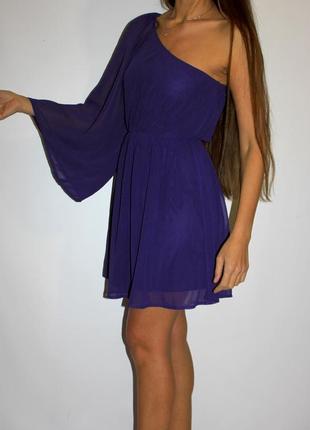 Шифоновое фиолетовое платье на одну руку -- срочная уценка платьев 300ед --