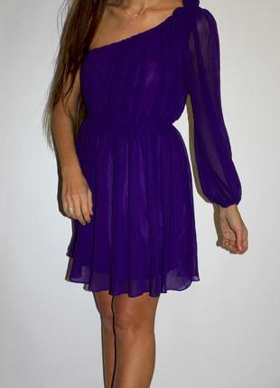 Шифоновое платье на один рукав - на плече розочки ( срочная уценка платьев )