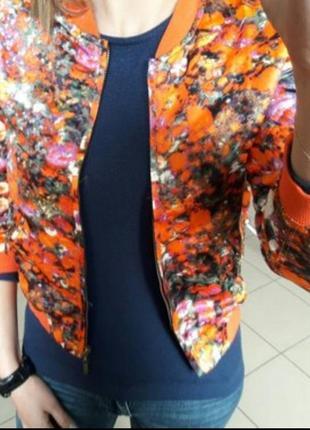 Яркий цветочный бомбер ветровка куртка пиджак asos