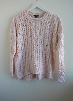 Нежный пудровый свитер оверсайз в косы от h&m