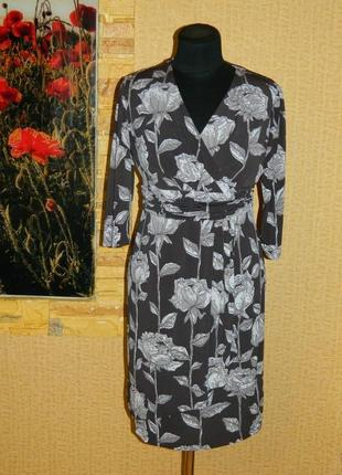 Платье тёмно-серое с цветами р. 44-46 minuet petite.