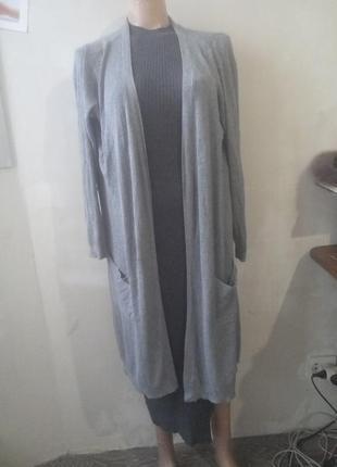 Кардиган длинный серый в рубчик с карманами