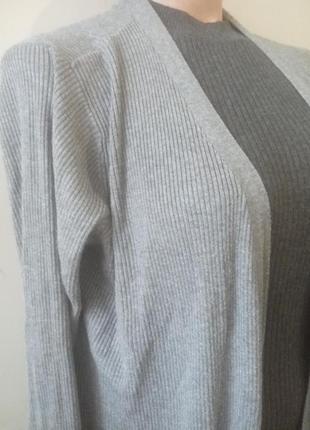 Кардиган длинный серый в рубчик с карманами2 фото