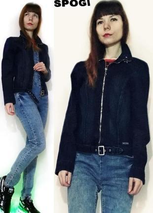 Жакет джинсовый, куртка джинсовая темно синего цвета на молнии