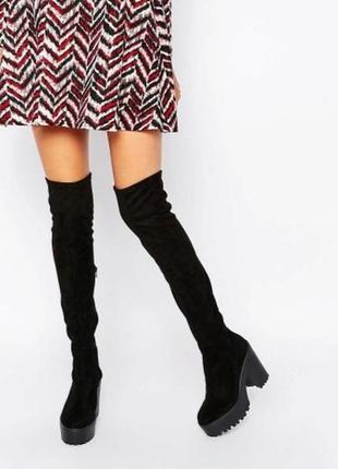 Шикарные черные замшевые ботфорты-чулки на среднем устойчивом каблуке new look
