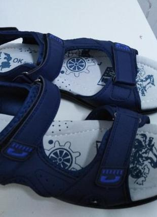 Синие мужские босоножки на тройных липучках