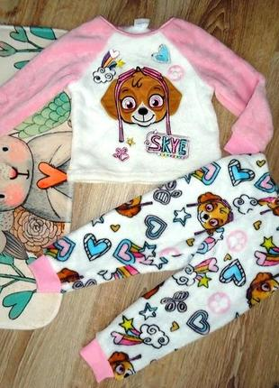 Красивенная плюшевая пижама щенячий патруль(скай)matalan на 1-2 года.