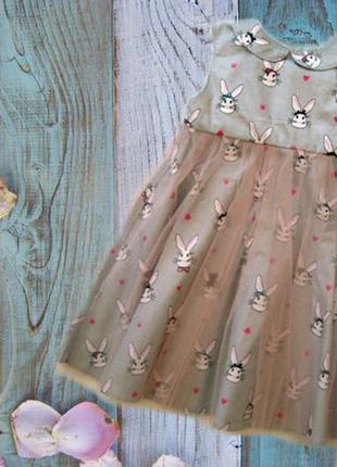 Шикарное платье с милыми кроликами р110