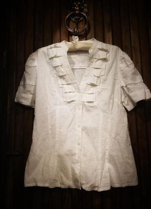 Стильная рубашка лен вискоза. блузка жабо