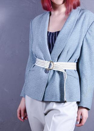 Ретро пиджак бирюзовый, женский пиджак с принтом, голубой пиджак оверсайз marks & spencer