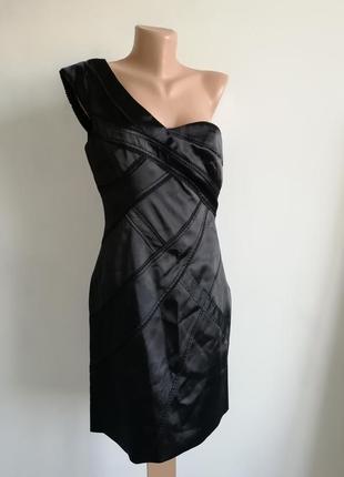 👑 чёрное платье миди на одно плечо 👑 атласное асимметричное платье миди