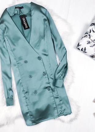 Неймовірна сатинова сукня-блейзер \ сатиновое платье блейзер жакет шикарного цвета boohoo