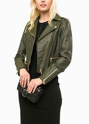 Куртка house косуха эко-кожаная размер 40-42 / 6-8 xs цвета хаки курточка весенняя осенняя
