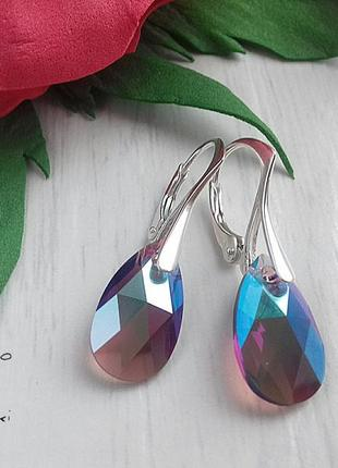 Сережки из серебра с кристаллами сваровски