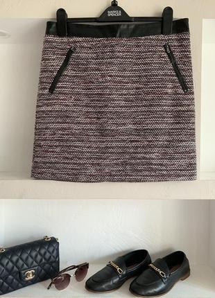 Меланжевая короткая юбка yessica с кожаной вставкой мини юбка буклированная размер m