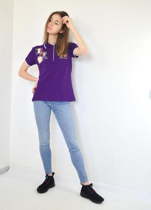 La martina фиолетовая поло-футболка с логотипом, тенниска,