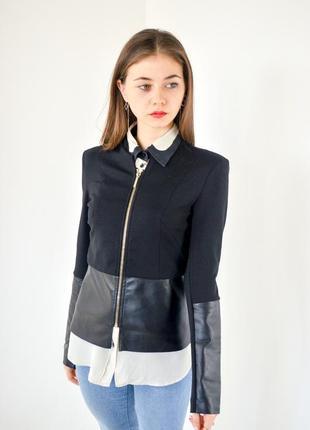 Kardashian kollection for lipsy черный блейзер на молнии с кожаными вставками, пиджак