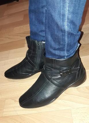 Фирменные кожаные демисезонные ботинки на низком ходу ecco рр 36