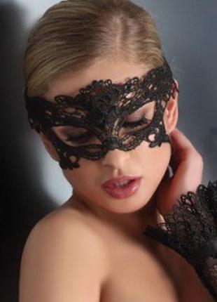Mask model 4 черная маска из твердого кружева