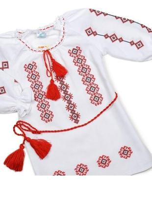 Вышиванка - платье с орнаментом в традиционном стиле - размер 92 (домотканое полотно)