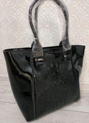 """Кожаная черная большая женская сумка шоппер 2019 """"alligator""""  лаковая из натуральной кожи"""