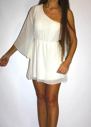 Шифоновое молочное платье на один рукав  -- срочная уценка--