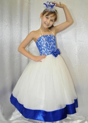 Детское нарядное бальное пышное платье эльза