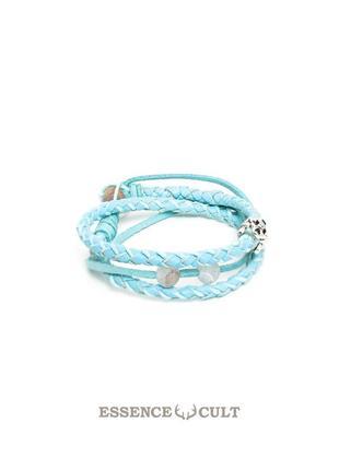 Essence cult кожаный женский браслет намотка небесного цвета