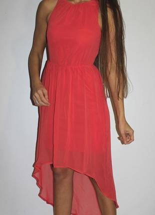Шифоновое платье  с удлиненной спинкой -- срочная уценка платьев 300 ед --