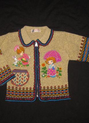 4-5 лет, теплющая шерстяная кофта для девочки на молнии