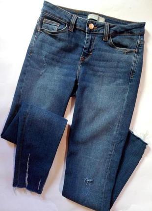 Классные модные стрейчевые джинсы скинни zara с потертостями, размер 34