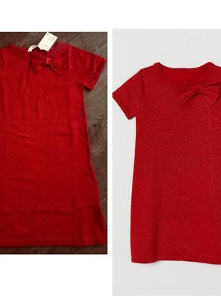 Платье h&m тонкой вязки; красное; с бантиком; с блестящей нитью на девочку 134-140см