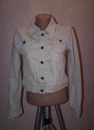 Укороченная пудровая джинсовая куртка голландия пог-43см