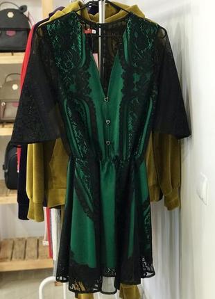 Шикарне ажурне плаття, гипюрове плаття, зелений колір