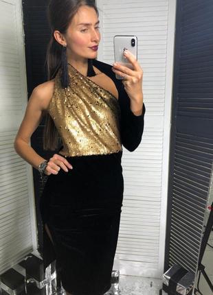 Платье женское бархат с золотой пайеткой
