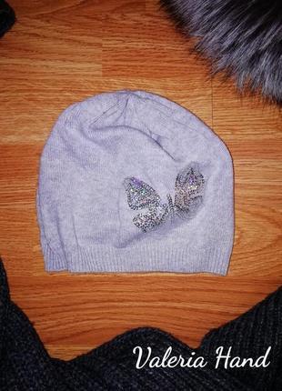 Тоненькая демисезонная шапка для девочки h&m - возраст 4-8 лет