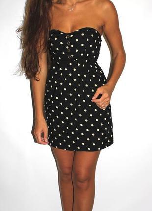 Черное платье бюстье в горошек (хлопок) --срочная распродажа платьев --