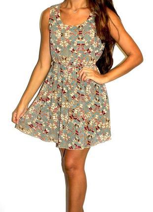 Шифоновое платье в бабочках (пог 51см) -- срочная уценка платьев --