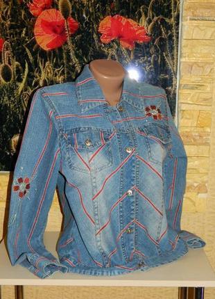 Куртка джинсовая женская синяя с вышитыми цветами размер 44-46